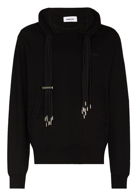 Black multi-cord logo-embroidered sweatshirt - men  AMBUSH | BMBB003F21FLE0011010