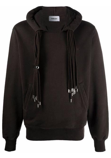 Brown multi-cord logo-embroidered sweatshirt - men  AMBUSH | BMBB003F21FLE0016464