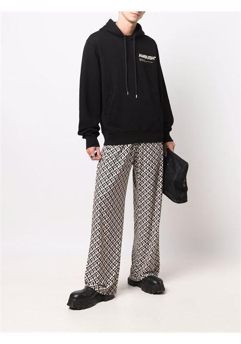 Black logo-embroidered sweatshirt - men  AMBUSH | BMBB012F21FLE0011003