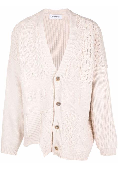 Ivory patchwork-knit cardigan - men  AMBUSH | BMHF008F21KNI0010404
