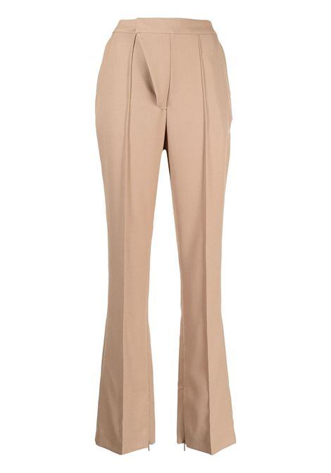 Beige high-waisted flared trousers- women  AMBUSH | BWCA012F21FAB0016200
