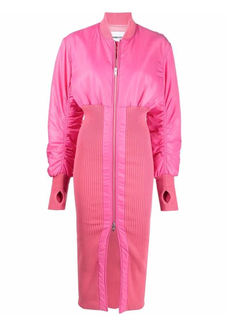 Pink ribbed-panel coat - women  AMBUSH | BWEH001F21FAB0013000