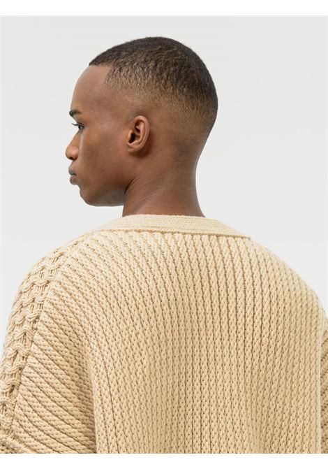 Beige patchwork-knit logo-detail cardigan - unisex AMBUSH | BWHB008F21KNI0011919