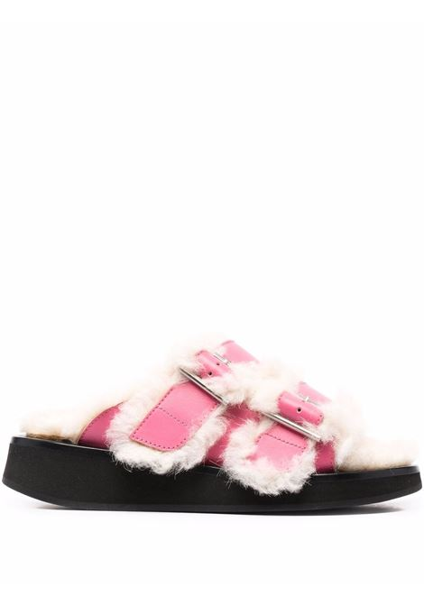 Pink side-buckle shearling slides - women  AMBUSH | BWIH003F21LEA0013232