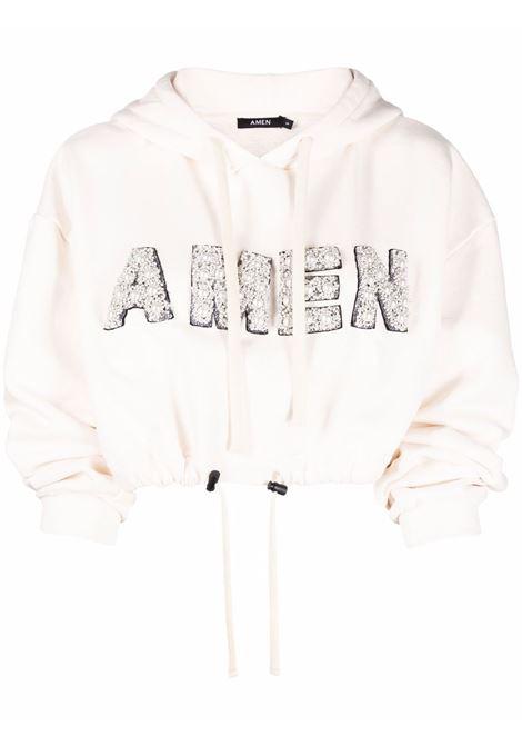 Long sleeve hoodie white- women AMEN | AMW21208081