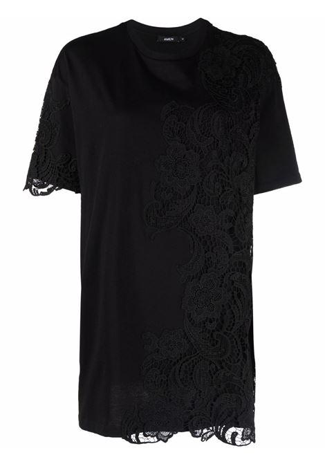 T-shirt oversize nero- donna AMEN | AMW21210499