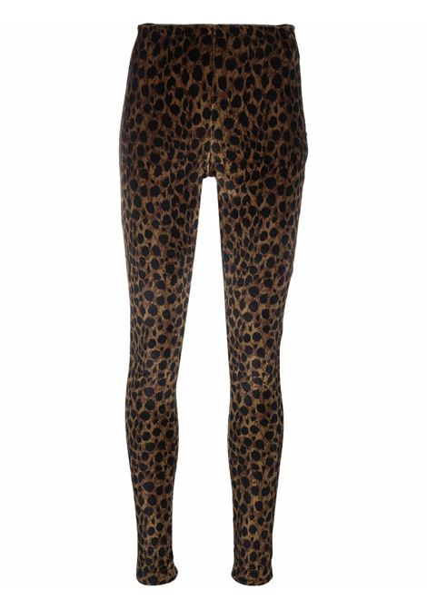 Pantalone a vita alta elasticizzato leopardato- donna AMEN | AMW21321942