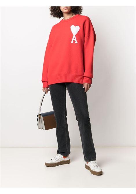Long sleeve jumper red- men AMI PARIS | H21K019018600