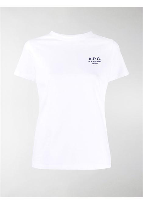 T-shirt con ricamo in bianco - donna A.P.C.   COEAVF26842AAB