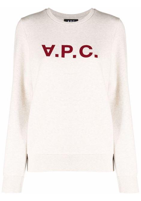 Felpa con stampa in bianco e rosso - Donna A.P.C.   COECQF27644PBB