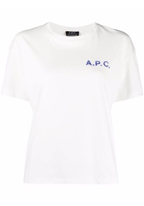 T-shirt a girocollo con stampa in bianco - donna A.P.C. | COELHF26031AAB