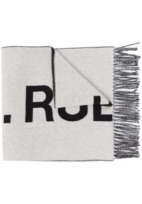 Maxi logo-knit tassel scarf in black and grey - men  A.P.C. | WOANEM15163AAC