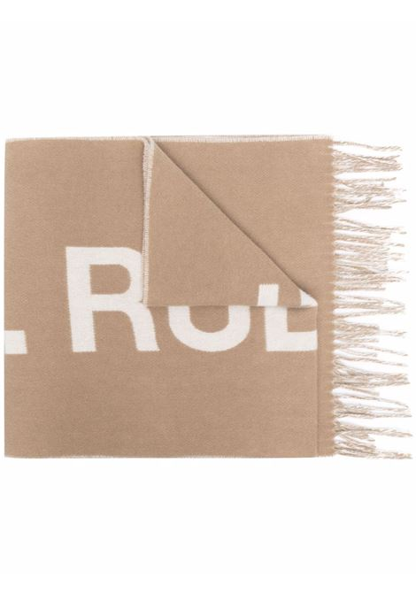 Maxi logo-knit tassel scarf in camel brown - men  A.P.C. | WOANEM15163CAB