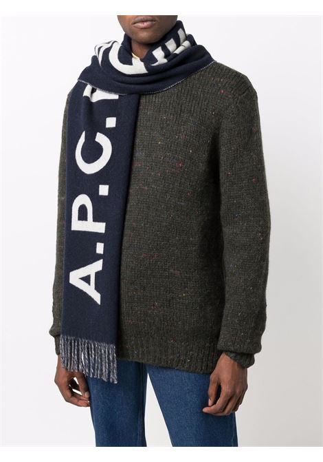 Maxi logo-knit tassel scarf in navy blue and white - men  A.P.C. | WOANEM15163IAK