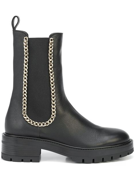 Black chain-trim ankle boots - women  AQUAZZURA | MSNFLAB0SCA000