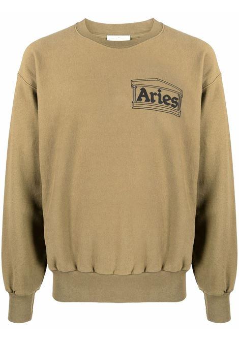 Olive green chest-logo crewneck sweatshirt - unisex ARIES | FSAR20000OLV