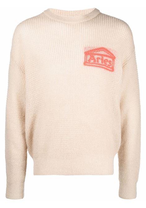 Beige waffle-knit logo-jacquard jumper - unisex ARIES | FSAR20022BG