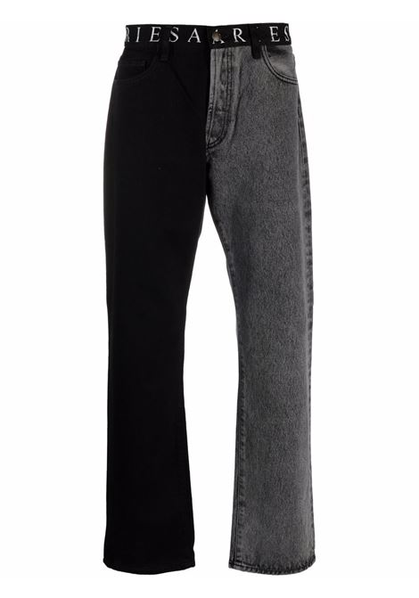 Black and grey two-tone straight leg jeans - unisex ARIES | FSAR30191BLK