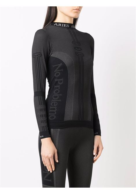 Black long-sleeve intarsia knit top - women ARIES | FSAR43000BLK