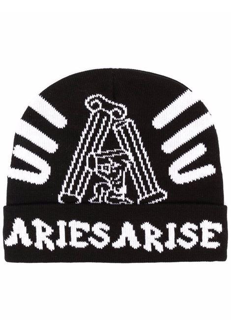 Intarsia-knit logo beanie in black/white - men  ARIES | FSAR91020BLKOLV