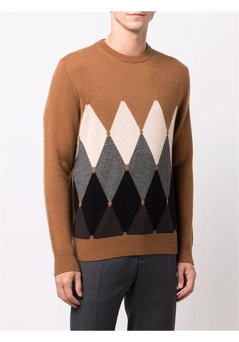 Maglione con stampa a rombi in marrone - uomo BALLANTYNE | T2P0007K0A894706