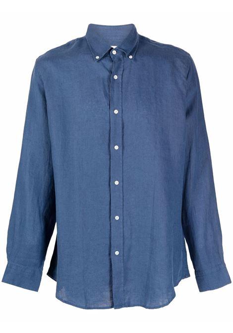 Button-down linen shirt in dark navy - men  BLUEMINT | MARTININDG