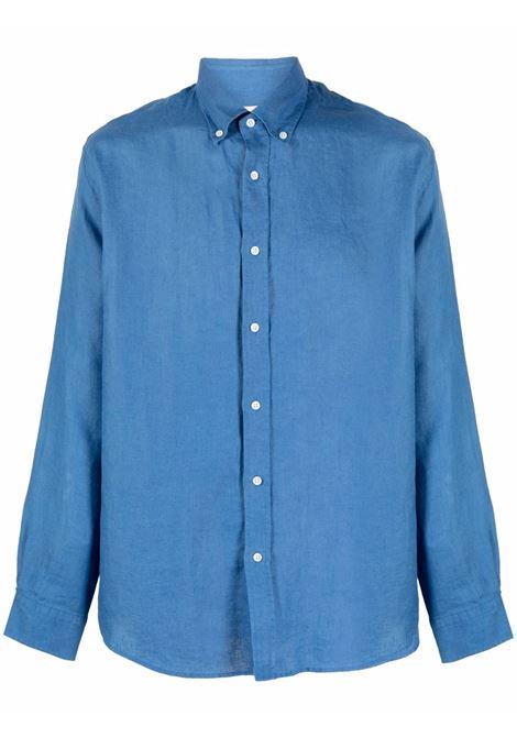 Button-down linen shirt in ocean blue - men  BLUEMINT | MARTINOCN