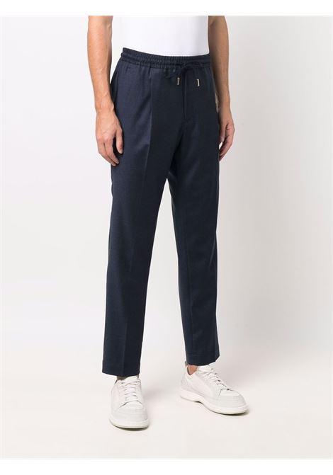 Pressed-crease drawstring-waist trousers in navy blue - men BRIGLIA 1949 | WIMBLEDONS42112000091