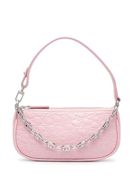 Rachel mini bag with croc effect in pink - women  BY FAR | 21SSMIRAPOCCESMAPNY
