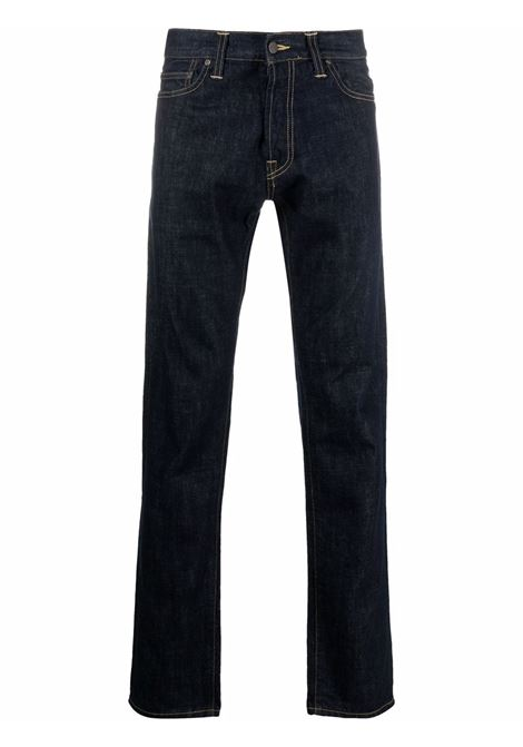 Logo-patch jeans in indigo blue - men  CARHARTT | I016735320102