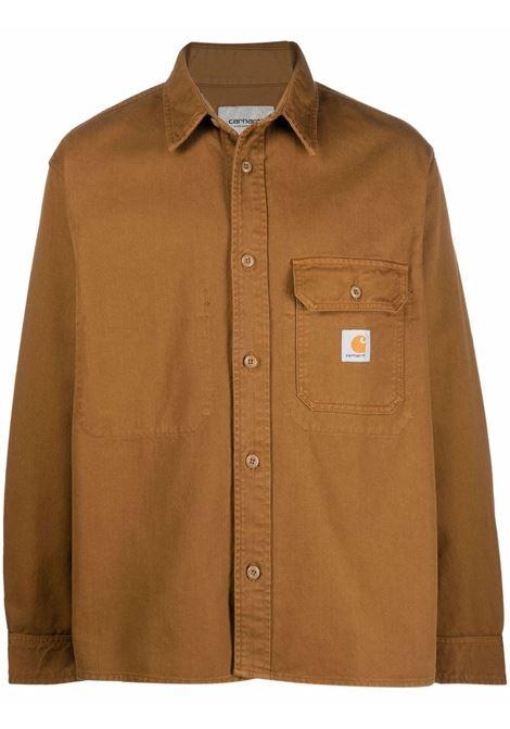 Plain cotton jacket in brown - men  CARHARTT | I029424030EPGD