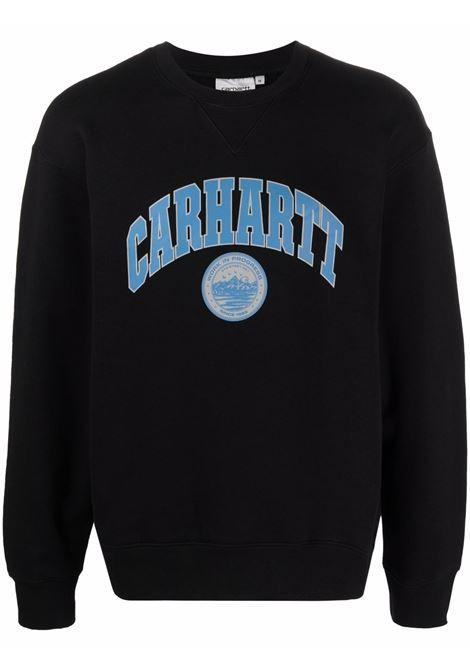 Felpa girocollo con stampa in nero e blu - uomo CARHARTT | I0295100389XX