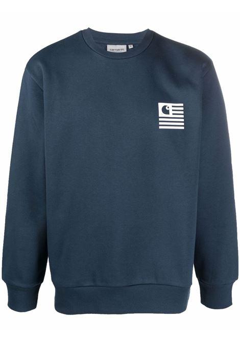 Blue logo crew-neck sweatshirt - men  CARHARTT | I029528030IVXX