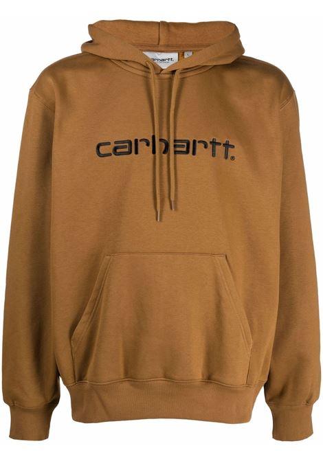 Felpa con logo in marrone - uomo CARHARTT | I0302300308WXX