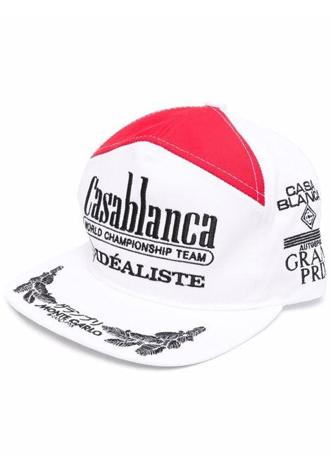 White embroidered-logo mesh-panel cap - men  CASABLANCA | AF21HAT012WHTRD