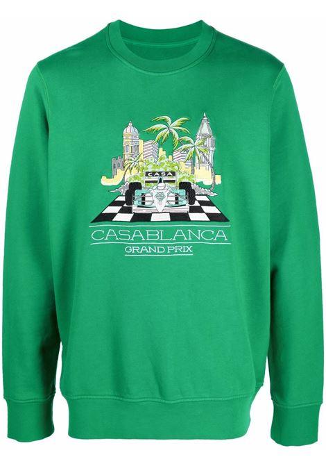 Logo-print sweatshirt in green - men  CASABLANCA | MF21JTP001GRN