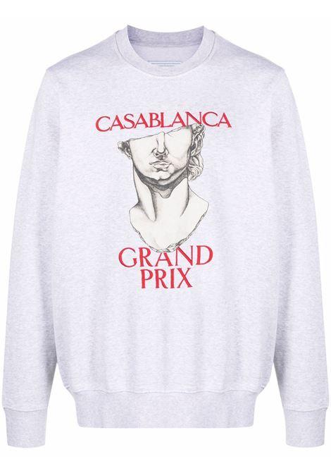 Logo-print organic cotton sweatshirt in grey - men CASABLANCA | MF21JTP001GRYMRL