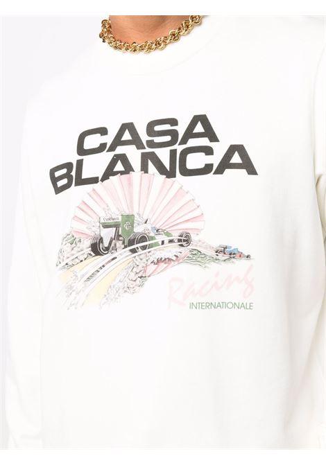 Racing Shell logo sweatshirt in shell white - men  CASABLANCA | MF21JTP001OFFWHT