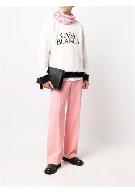 White logo-print fleece sweatshirt - women  CASABLANCA | MF21JTP033OFFWHT