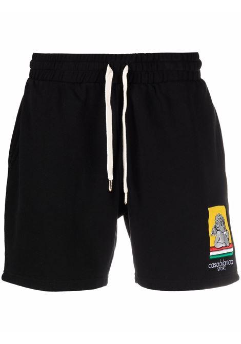 Racing Cherub logo-embroidered track shorts in black - men   CASABLANCA | MF21JTR003BLK