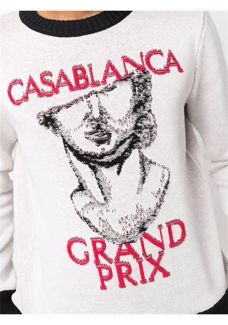 Intarsia-logo crew-neck jumper in off white, red and black - men  CASABLANCA | MF21KW095OFFWHT