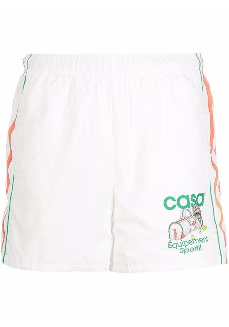 Logo-print track bermuda shorts in white, green and orange - men  CASABLANCA | MF21TR029TCHNCLEQUPMNT