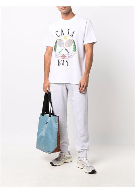 Tennis graphic-print T-shirt in white - men  CASABLANCA | MF21TS001CASAWAYTENNISWHT