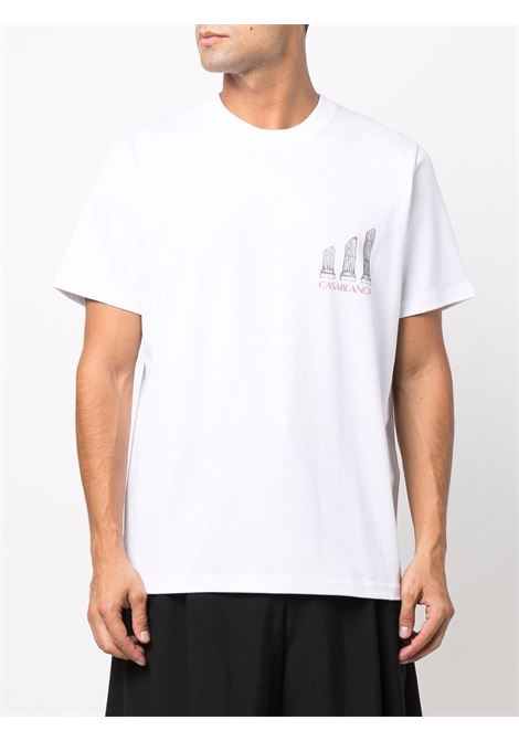 Logo-print cotton T-shirt in white - men  CASABLANCA   MF21TS001WHT