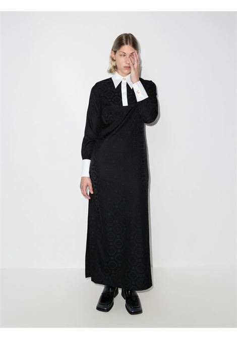 Black monogram-print long shirtdress - women  CASABLANCA | WF21DR004BLK