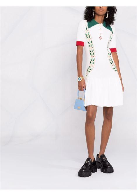 White Laurel Leaf cotton-blend knitted mini dress - women  CASABLANCA | WF21KW077OFFWHT