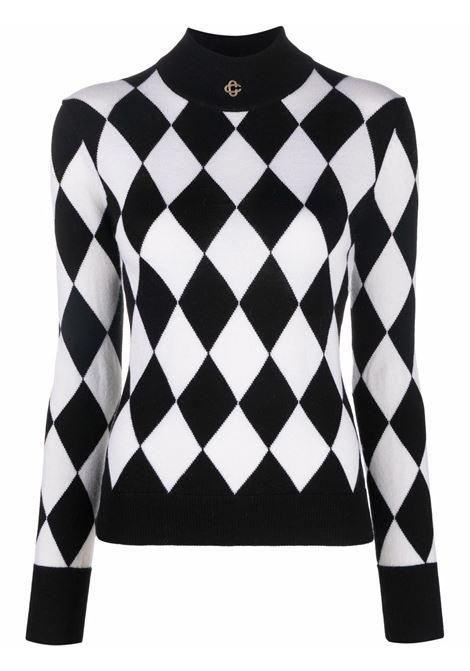 Diamond-print merino jumper in white and black - women  CASABLANCA | WF21KW099BLKWHT