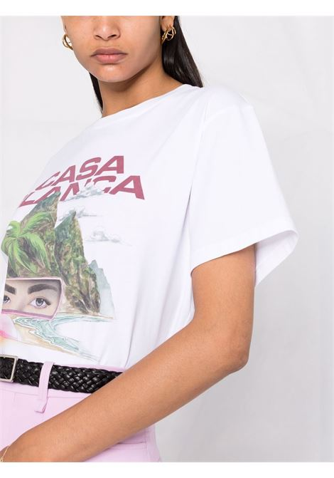T-shirt con stampa in bianco - donna CASABLANCA | WF21TS002MIRRORWHT