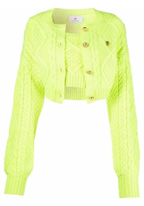 Cardigan in maglia intrecciata in verde - donna CHIARA FERRAGNI | 71CBFM17CMH01156