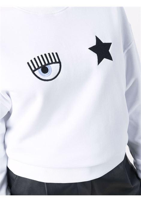 Felpa a girocollo eyestar in bianco - donna CHIARA FERRAGNI | 71CBIT01CFC0T003